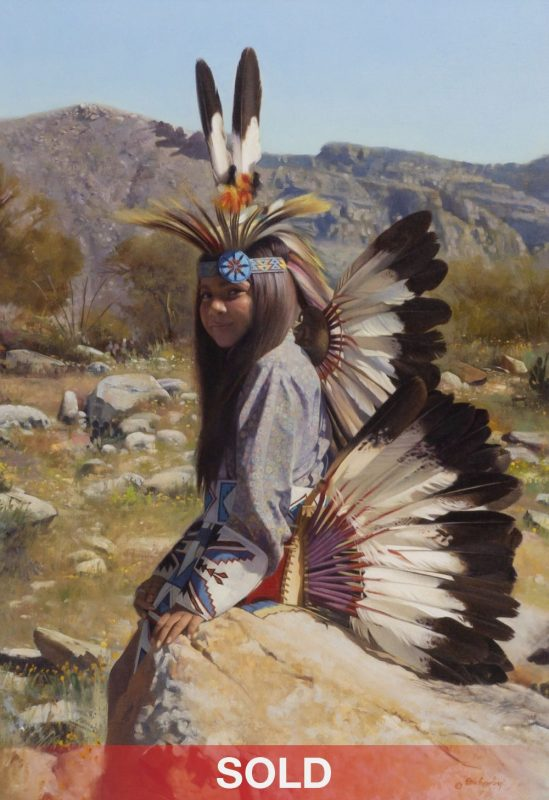 """Don Crowley """"The Eaglet"""" Native American figure ceremonial oil painting"""