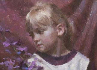 "Morgan Weistling - ""Emmie's Wish"" girl figure figurative flowers oil painting"