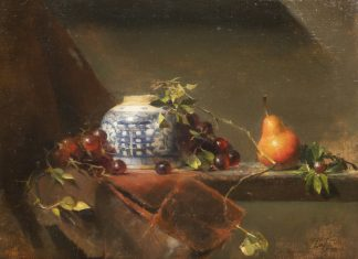"David Leffel - ""Still Life With Red Pear And Chinese Vase"""