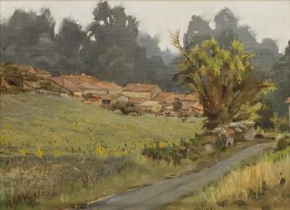 """Clark Hulings  (1922 - 2011) - """"Village With Sunflowers"""""""