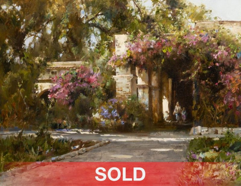 "Cyrus Afsary - ""Sunday At San Juan Capistrano"" mission California hibiscus architecture western oil painting"