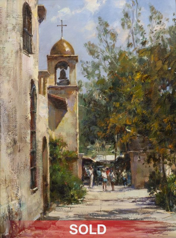 "Cyrus Afsary - ""Day At The Mission"" California church bell architecture western oil painting"