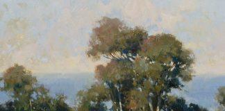"James Reynolds (1926 - 2010) - ""La Jolla"" California landscape plein air trees western oil landscape painting"