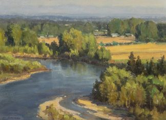 "Clyde Aspevig ""Flathead Valley"" stream river landscape oil painting"