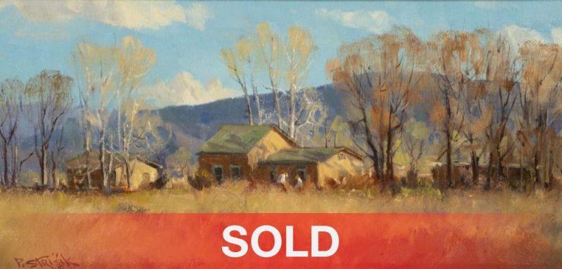 Indian Summer, Taos - Paul Strisik buildings western oil painting