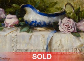 """Jean Chambers - """"French Roses And Gravy Bowl"""" still life rose flower oil painting"""