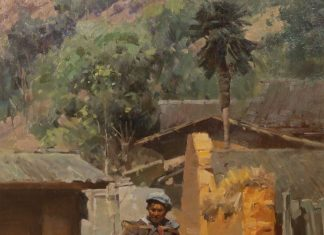 "Mian Situ - ""Village Path"" Asian oil painting"