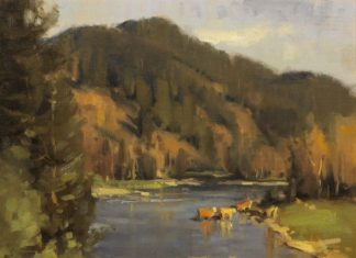 "Scott Christensen - ""The Crossing"" landscape oil painting cows"