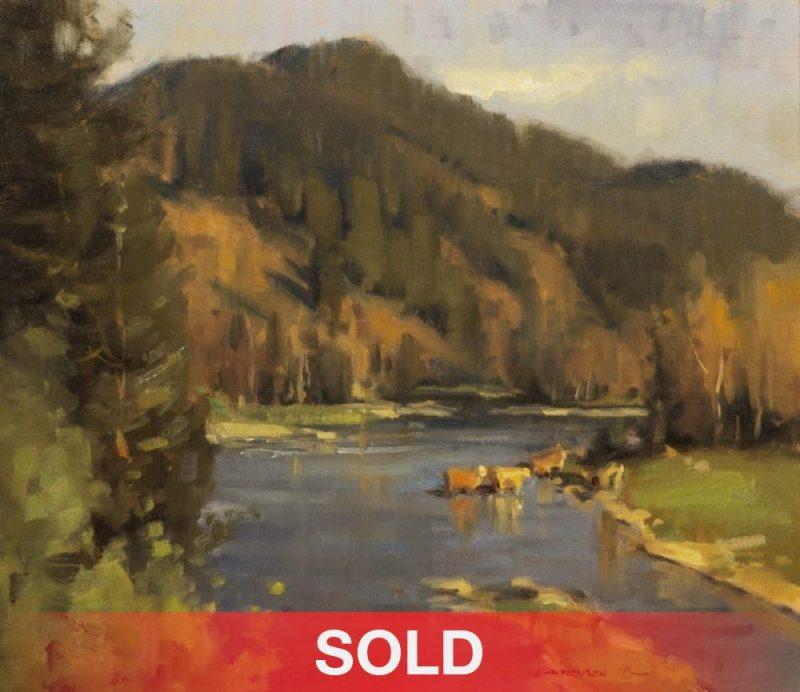 "Scott Christensen - ""The Crossing"" landscape oil painting cows"