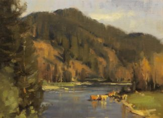 "Scott Christensen - ""The Crossing"" cow river stream mountain western oil landscape painting"