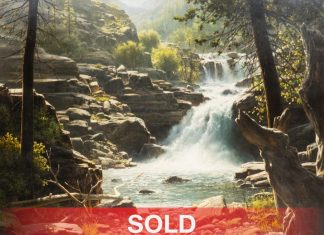 "Bill Hughes ""Cougar Falls"" landscape waterfall stream water forest trees oil painting"