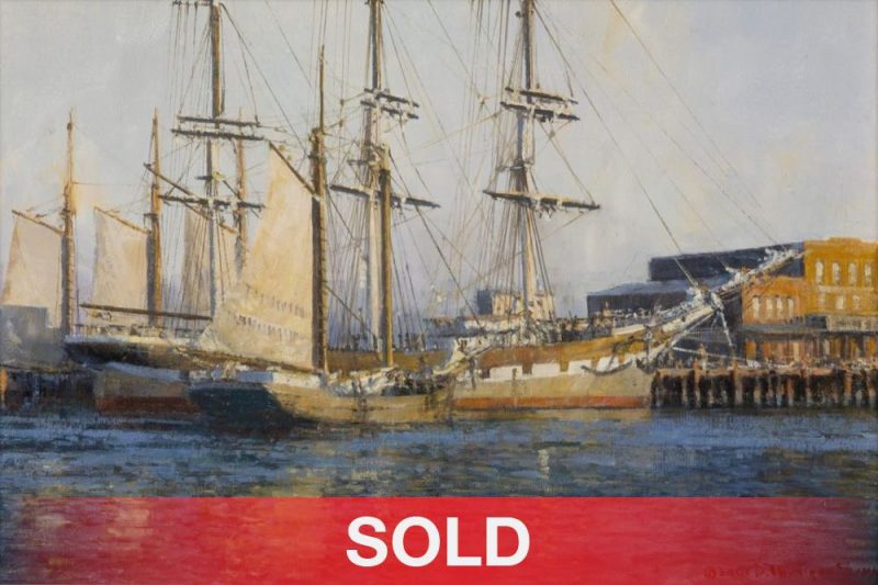 David Thimgan Vallejo Street Wharf San Francisco ship nautical sea oil painting