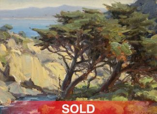 Clyde Aspevig Point Lobos cypress tree ocean oil seascape painting