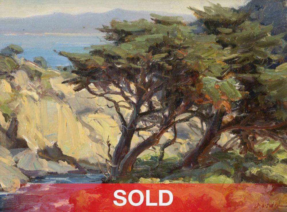 Clyde Aspevig Point Lobos cypress tree ocean oil seascape painting