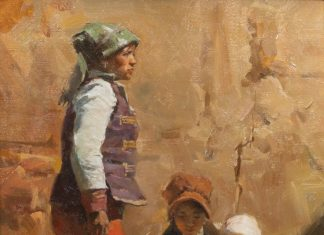 Mian Situ Yi Family figurative Asian children oil painting