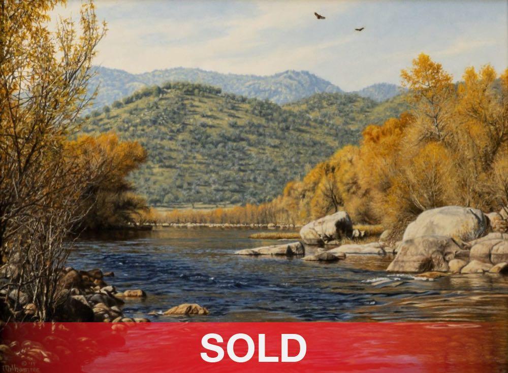Denis Milhomme River Delight landscape river mountains birds oil painting