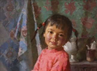"Jie Wei Zhou ""Tibetan Girl With Pail"" oil painting"
