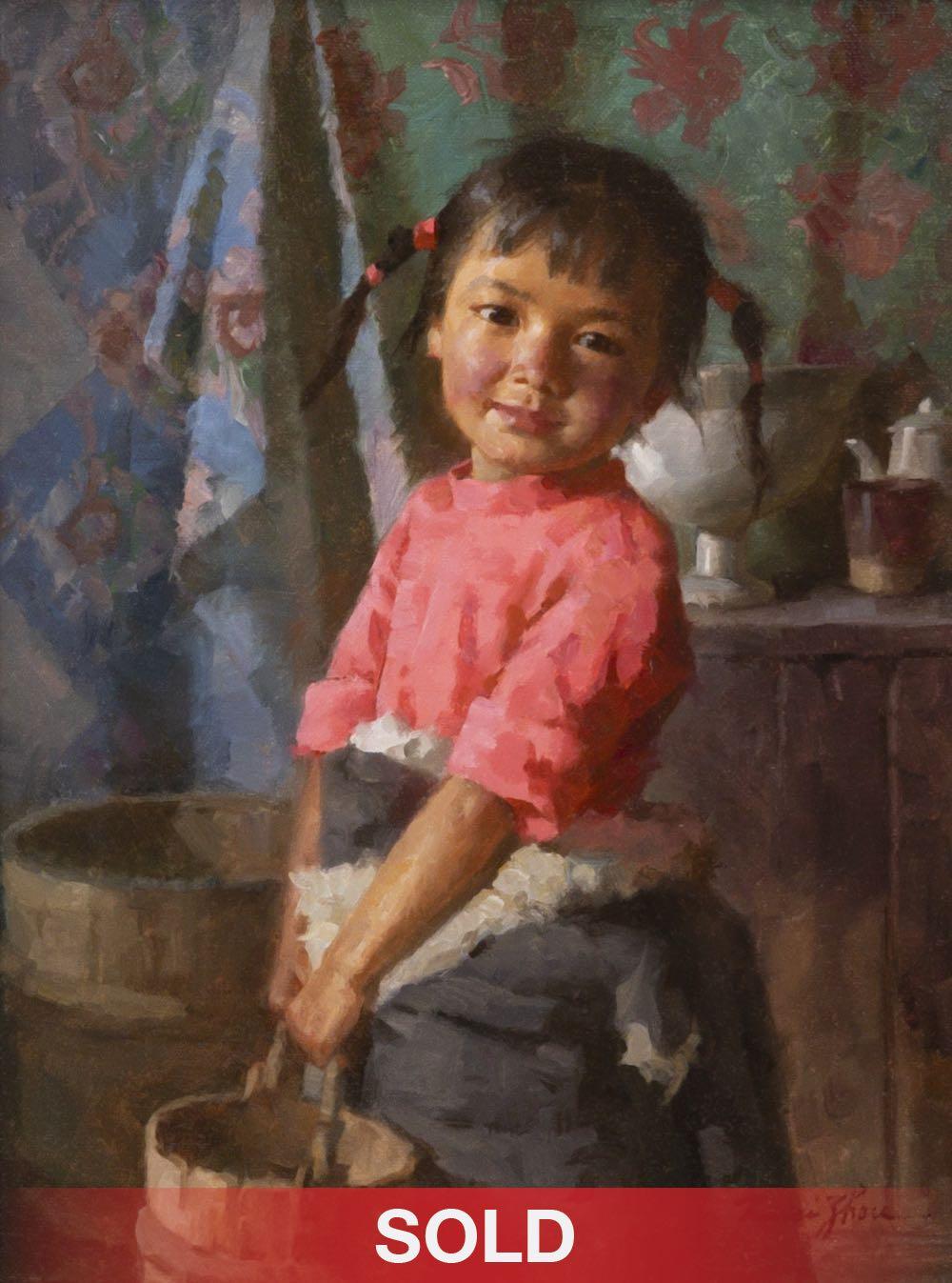 """Jie Wei Zhou """"Tibetan Girl With Pail"""" oil painting"""
