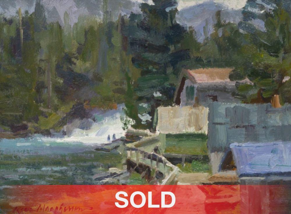 Kevin Macpherson Boardwalk To The Falls Alaska lake waterfall western oil painting