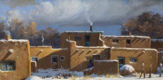 "Joni Falk - ""Taos Pueblo - Winter"" architecture New Mexico snow"