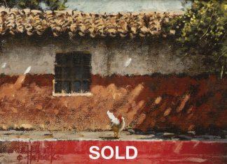 """George Hallmark - """"El Reves del Camino"""" pueblo Mexico architectural western oil painting"""