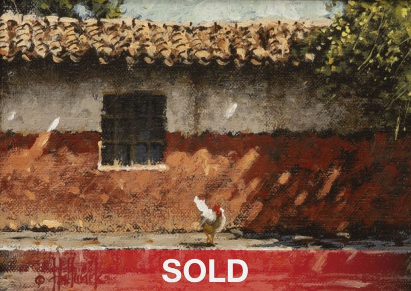 """George Hallmark """"El Reves del Camino"""" pueblo Mexico architectural western oil painting"""
