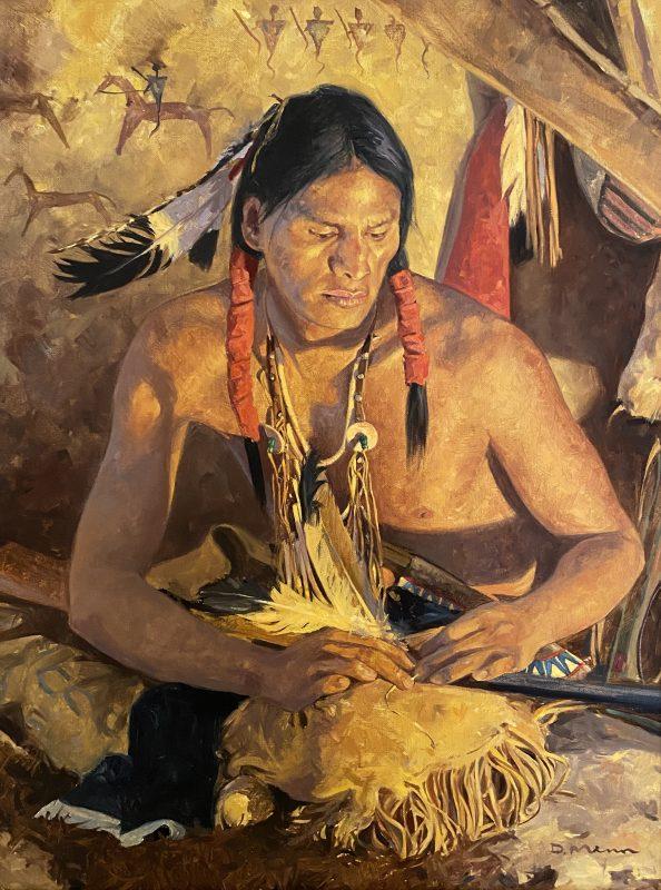 David Mann Medicine Feathers Native American warrior man scout elder warrior western oil painting