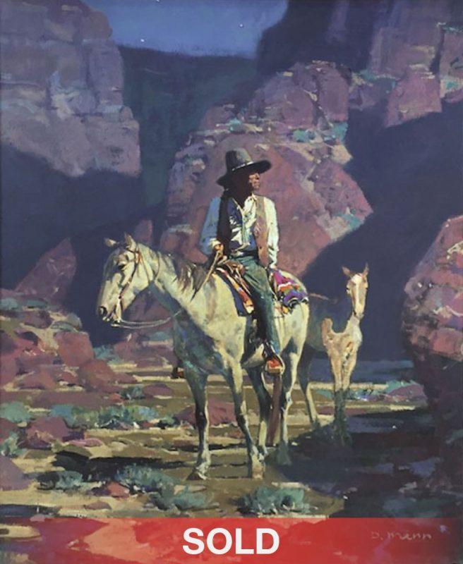David Mann The Wandering Navajo Native American horse night scene canyon desert landscape oil painting