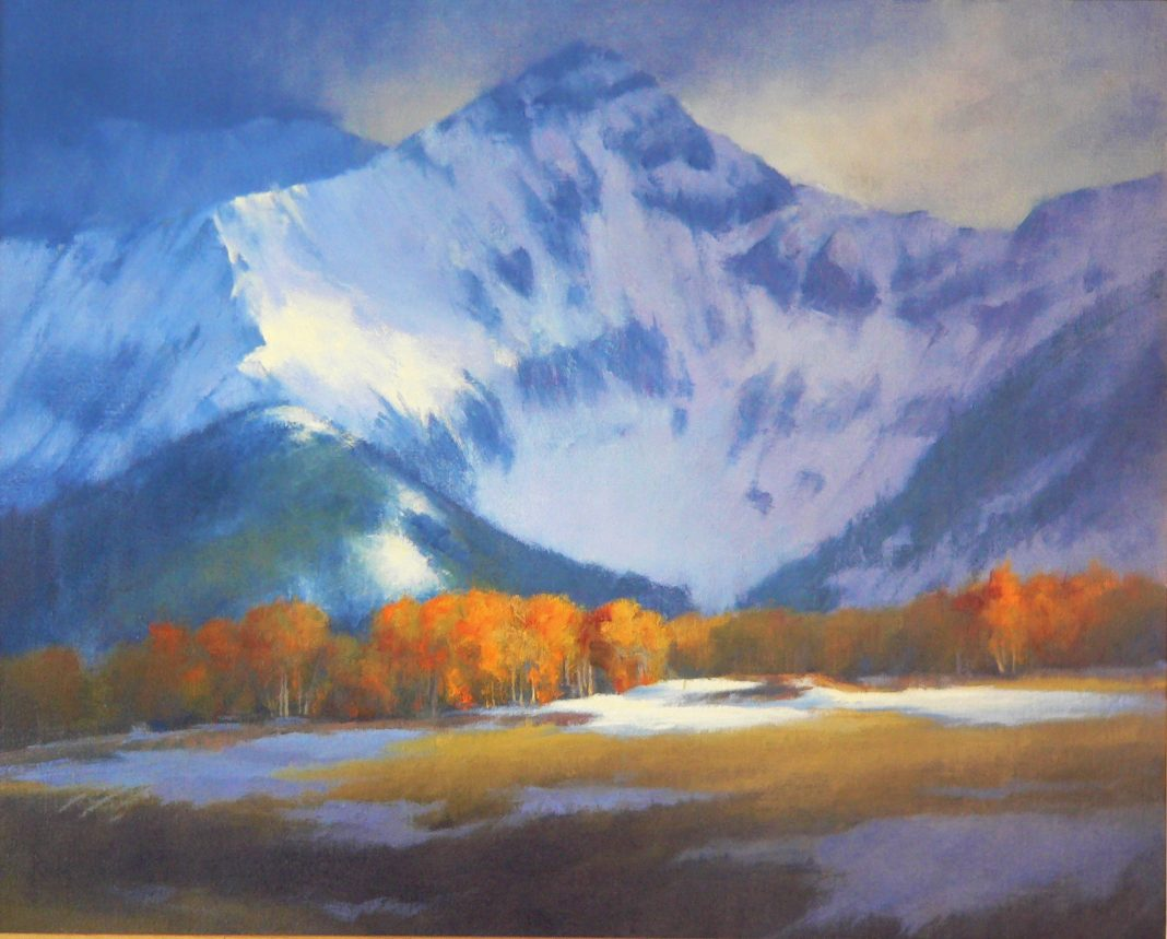 David Riedel Autumn Storm snow high mountain western landscape oil painting