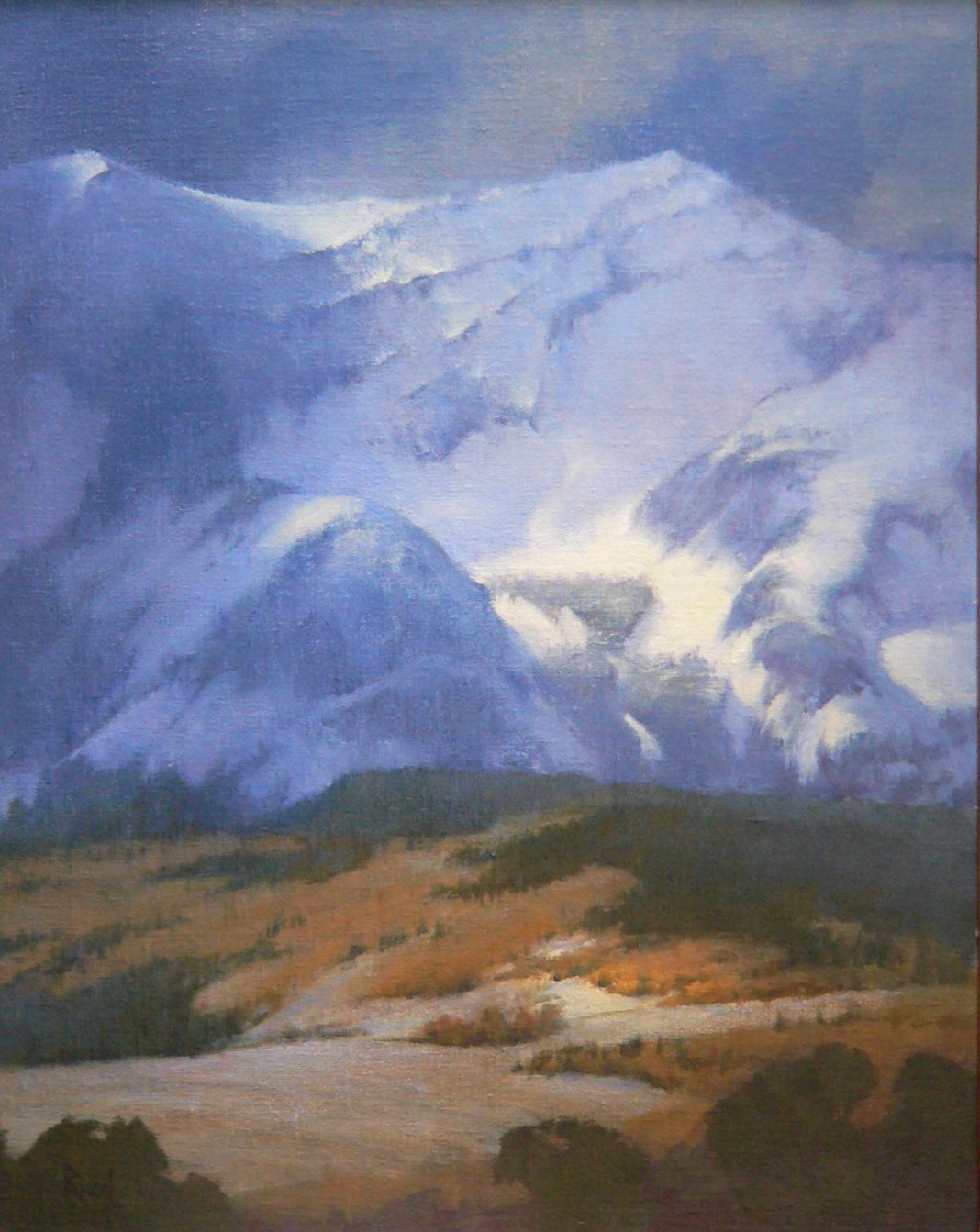 David Riedel High Pasture snow mountains landscape oil painting