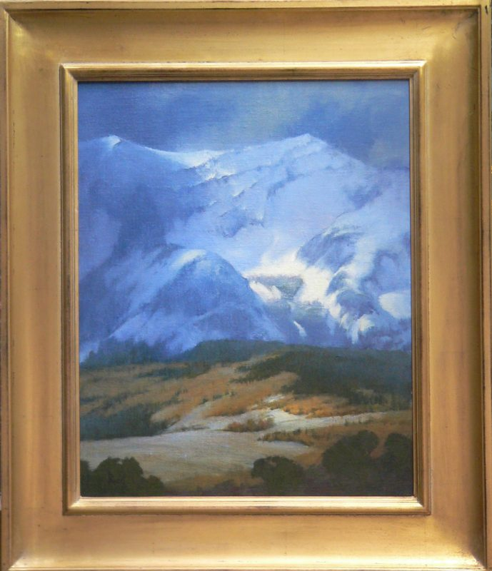 David Riedel High Pasture snow mountains landscape oil painting framed