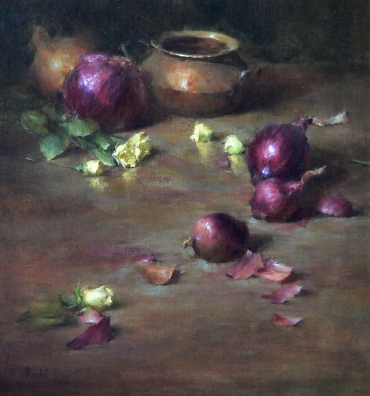 David Riedel Onions still life oil painting vegetables