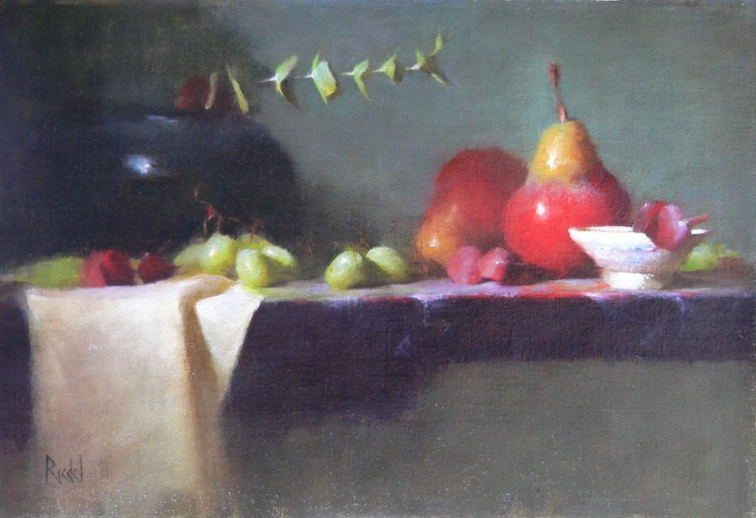 David Riedel Red Pears still life oil painting