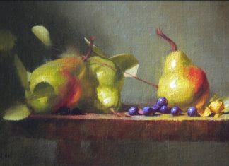 David Riedel Three Pears fruit still life oil painting