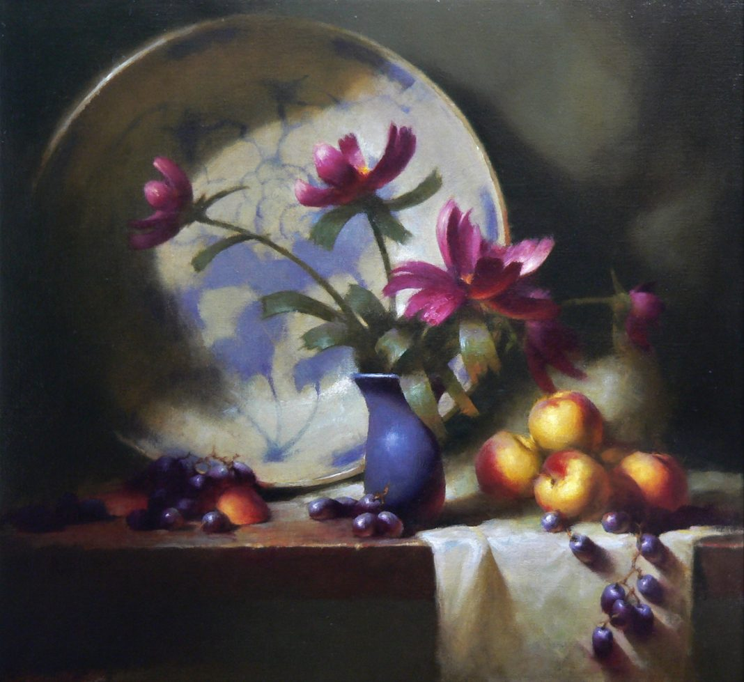 David Riedel Tonettes Heirloom Bowl pottery still life fruit apples peonies oil painting