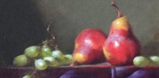 David Riedel Two Pears fruit still life oil painting