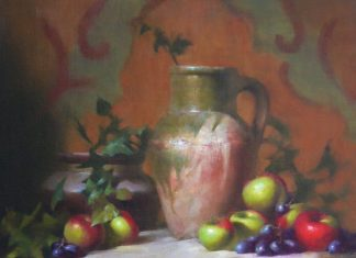 David Riedel Vase With Apples still life fruit oil painting