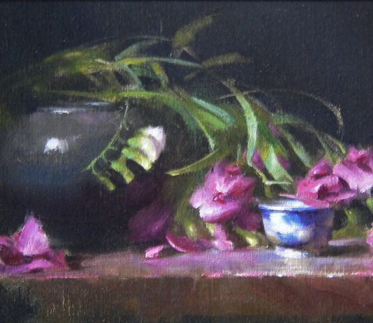 David Riedel Wild Pea Flowers porcelain still life oil painting