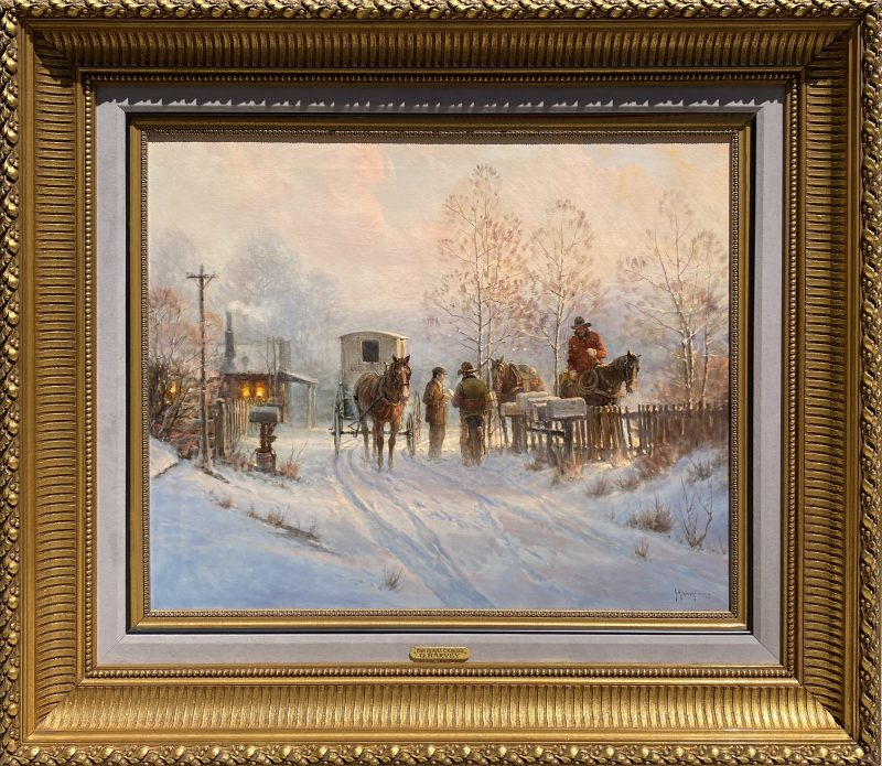 G. Harvey Gerald Harvey Jones The Rural Carrier US Postal Service cowboy horse western snow oil painting framed