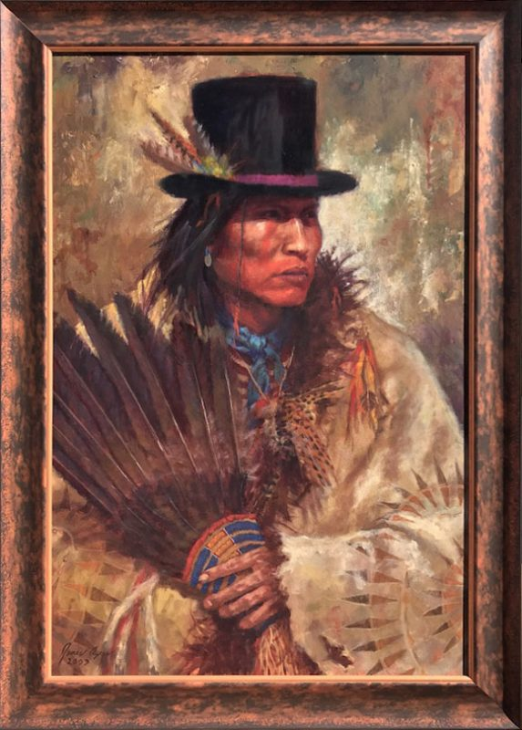 James Ayers His New Hat Oglala Sioux Native American oil painting