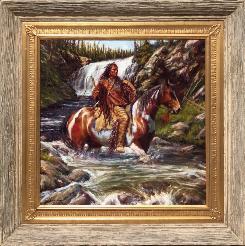 James Ayers Strong And Swift Native American horse horseback swift water river waterfall western oil painting framed