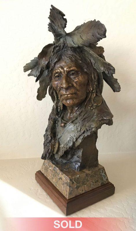 John Coleman Big Soldier Native American Indian western bronze sculpture
