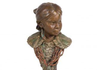 John Coleman Silver Buttons Native American girl woman figure figurative western bronze sculpture