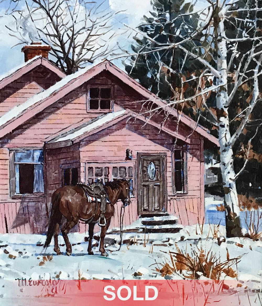 Michael Ewing White Mountain Visit horse cabin snowy landscape oil painting
