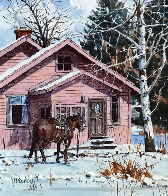Michael Ewing White Mountain Visit horse snow cabin western oil painting