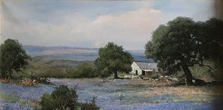"Robert Wood ""Bluebonnets In Texas"" western landscape oil painting"
