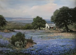 "Robert Wood ""Bluebonnets In Texas"" western landscape oil painting"