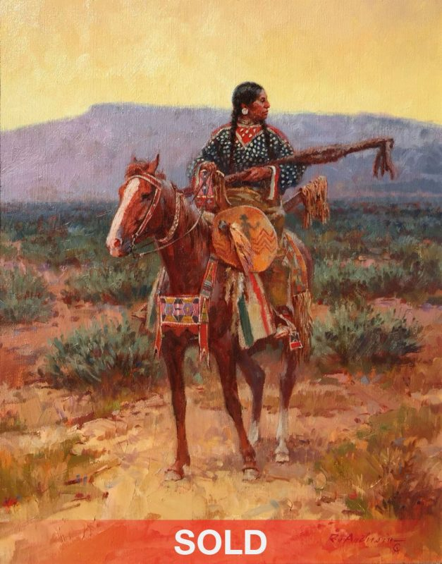Roy Andersen The Pipe Holders Trophies Native American woman horse western oil painting