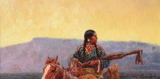 Roy Andersen The Pipe Holders Trophies Native American horse western oil painting