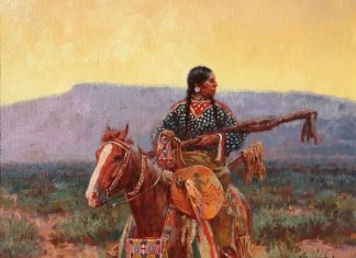 Roy Andersen The Pipe Holders Trophies Native American horse western oil painting